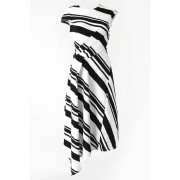 40/1 Hard Twist Yarn Punch the dough Border Dress - DK11-CS05-D05 - divka-Black x White-1