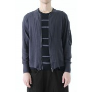 The Viridi-anne - Cotton Linen Strong Twist Plain Stitch MA-1 Blouson-Dark Gray-1