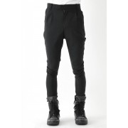 17SS Wool stretch 2tacks tapered pants-BLACK-1
