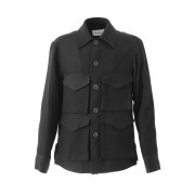 DRILL RAYON4 POCKET SQUARE JACKET-Black-44