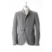 Compression Wool Jersey Mao Collar Jacket-Cement Gray-0