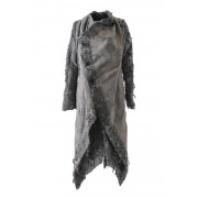 Layered Long Cut Jacquard Coat - 08-C05-Grage-1