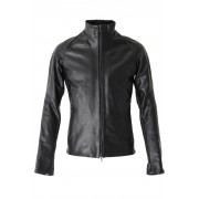 High Neck Jacket Calf Leather-Black-2