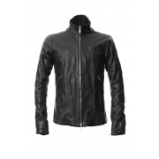 High Neck Leather Jacket-Black-1