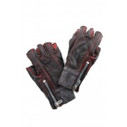 Horse leather cold dyed finger-less glove - ST109-0019S-Red-1