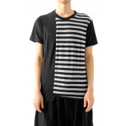 Vertical Switched Part T-Shirt-Black-1