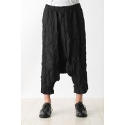 Straight Seamed Sarouel Pants-Black-2