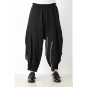 Stitched Sarouel Cropped Pants-Black-2