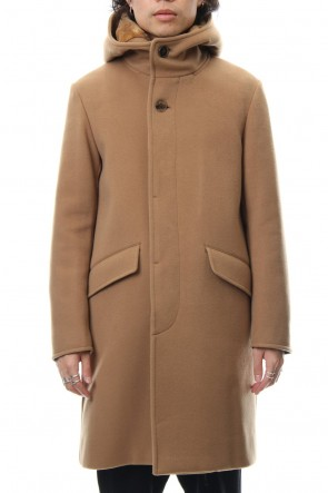 FACTOTUM 18-19AW Cashmere Pile Melton Long Food Coat - camel
