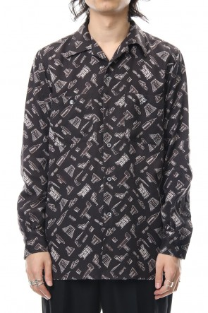 FACTOTUM 18-19AW PRINT OPEN COLLAR SHIRT-black
