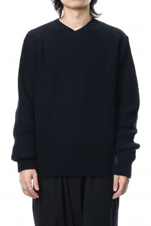 FACTOTUM 18-19AW 7G Military Ridge V-neck Knit - Navy