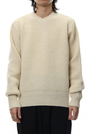 FACTOTUM 18-19AW 7G Military Ridge V-neck Knit - White