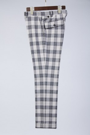 T/RY MELANGE CHECK STRETCH PANTS