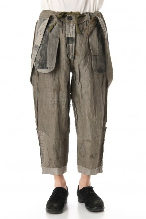ZIGGY CHEN 20SS Used Paper Print Suspender Pants
