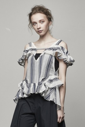 STRIPE FRILL OFFSHOULDER TOP - 17S-SH-13