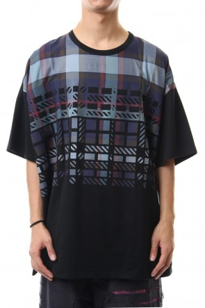 amok 19-20AW DICHOTOMIC CHECK TEE - Black