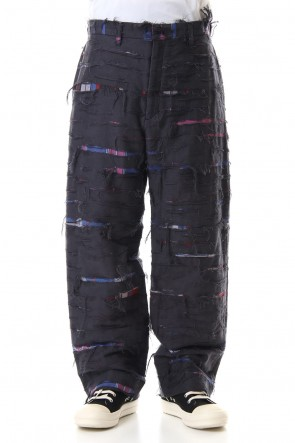 amok 19-20AW CHECK DAMEGE PANTS - Black