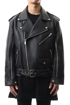 JOHN LAWRENCE SULLIVAN 20SS GRAIN LEATHER BACK BUTTONED BIKER'S JACKET
