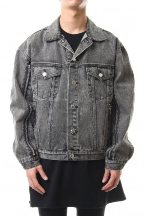 JOHN LAWRENCE SULLIVAN 20SS BLEACHED DENIM ZIPPED JACKET Grey