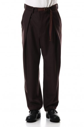 CLANE HOMME19-20AW1TUCK WIDE PANTS Brown