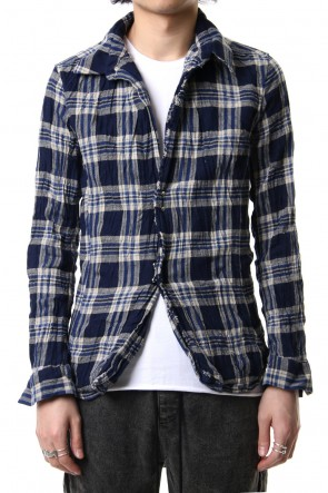 wjk 19SS vintage check hook shirt Navy