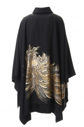 RONDO.ym 20SS Silk Georgette Back Embroidery Shawl collar Mantle