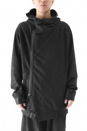 GEOMETRIC COATED ZIP UP HOODIE - JULIUS