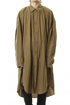 NILøS 19-20AW GATHER LONG SHIRT Khaki