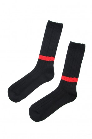 wjk 18-19AW Wool Sox - Black × Red