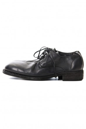Guidi19SSClassic Derby Shoes Laced Up Single Sole - Horse Full Grain Leather - Black