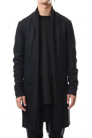 ATTACHMENT 19-20AW Flannerana smooth long Stole Cardigan Black