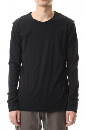 ATTACHMENT 20SS 80/2 Tightness plain stitches Crew neck layered L/S Black