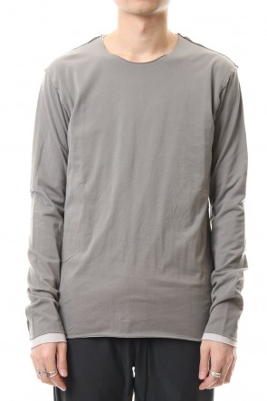 ATTACHMENT 20SS 80/2 Tightness plain stitches Crew neck layered L/S D.Gray