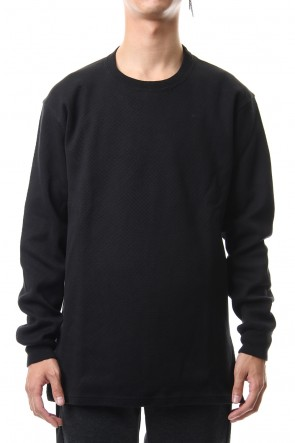 ATTACHMENT 19-20AW Honeycomb waffle double face crew neck L/S cut&sewn Black