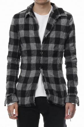 wjk 18-19AW block check hook shirt -  dark gray