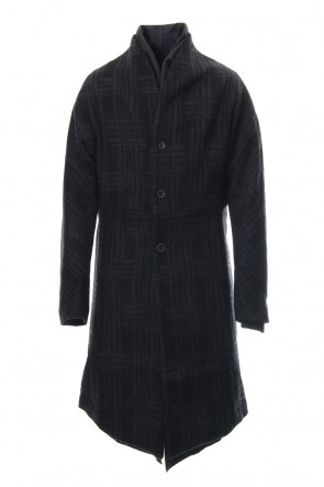 individual sentiments 18-19AW Coat CO28 Grid Pattern Jaquard Wool Beaver Finished