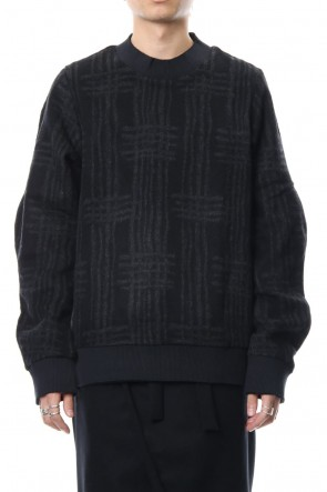 individual sentiments 18-19AW Pullover CT63 Grid Pattern Jaquard Wool Beaver Finished