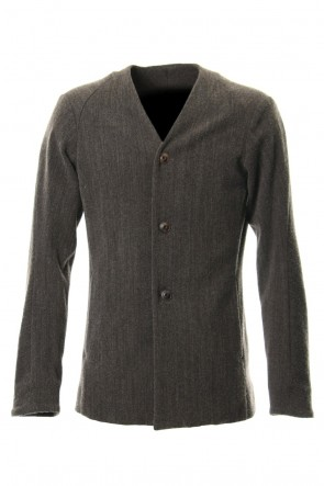 DEVOA 18-19AW Jacket Wool / Cotton Raschel Knit Brown Gray
