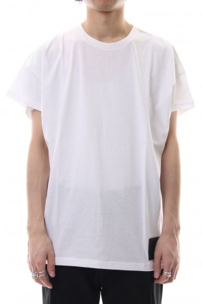 DIET BUTCHER SLIM SKIN 19SS Drop shoulder leather patch T-shirt