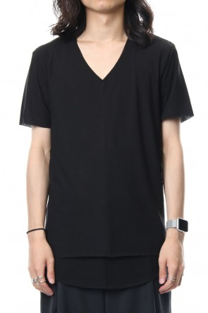 ASKyy 18-19AW Layered Cutsew V-neck - Black