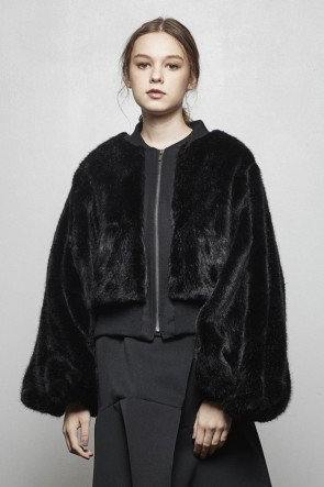 divka 18-19AW Long Fake Fur Bomber Jacket - DK14-10-J02-Black