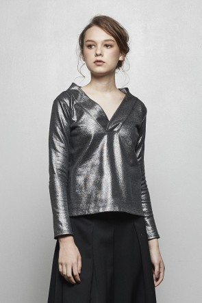 divka 18-19AW FOIL Terry Cotton Fleece Lining Long Sleeve Pullover DK14-CS05-T07 Silver Black