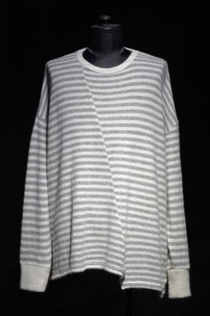 DIET BUTCHER SLIM SKIN 16W 16W Striped asymmetry  loose pullover  WHITE × HEATHER GRAY