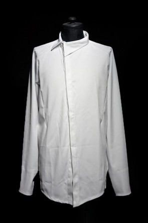 "by H New York 16-17AW 16AW ""ASYX"" OVER LOCKED ASYMMETRICAL COLLAR SHIRT WHITE"