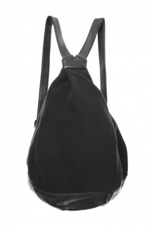 Discord Yohji Yamamoto 18-19AW Switching Tuck Back Pack BIG Brushed & Leather - DV-I10-903 Black