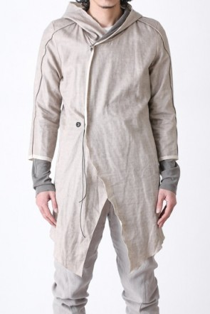 HOODED COAT DOUBLE FACED COTTON LINEN