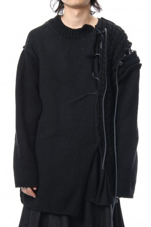 Yohji Yamamoto 18-19AW Leather Lace Seam Grafting Knit