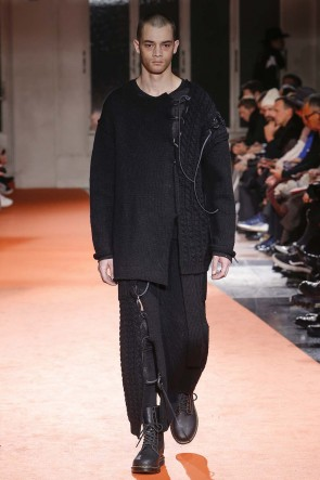 Yohji Yamamoto 18-19AW Leather Lace Seam Grafting Knit Long Skirt