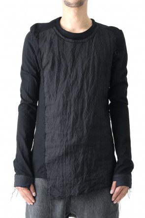 Ramie x Strong Twist Plain Stitch Combination Long Sleeve T Shirt