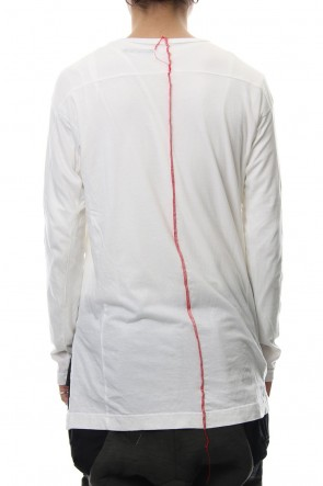 The Viridi-anne18-19AWProduct Dyeing Back Center Coloring Stitching Long Sleeve T White × Red